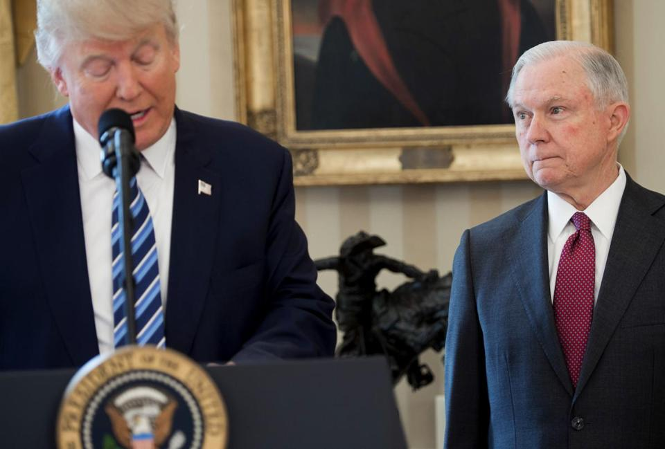 President Trump and Attorney General Jeff Sessions in February, after Sessions was sworn in.